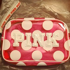 PINK Bundle Polka dot Wristlet and Swell Bottle